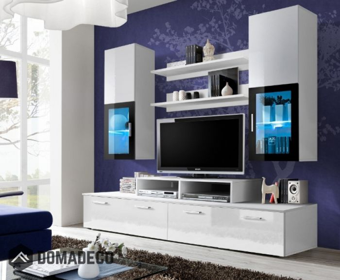 2017 Black Gloss Tv Wall Unit Within Toledo 1 – White High Gloss Wall Unit (Image 2 of 25)