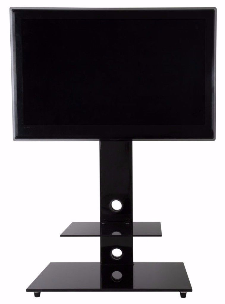 2017 Cheap Cantilever Tv Stands Pertaining To Cantilever Tv Stand For 32&inch To 55Inch 2 Glass Shelves (Photo 6566 of 7746)