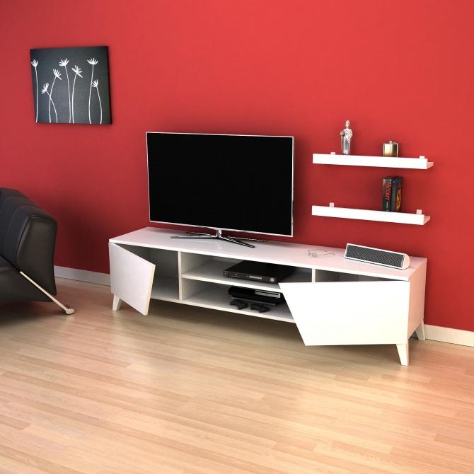 2017 Ducar 64 Inch Tv Stands For Tv Ünitesi Raf Hediyeli 180Cm Long Televizyon Sehpası – Beyaz (Image 1 of 25)