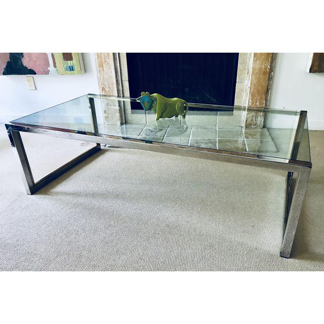 2017 Era Glass Console Tables Regarding Mid Century Chrome And Glass Coffee Table Milo Baughman Era (Image 1 of 25)