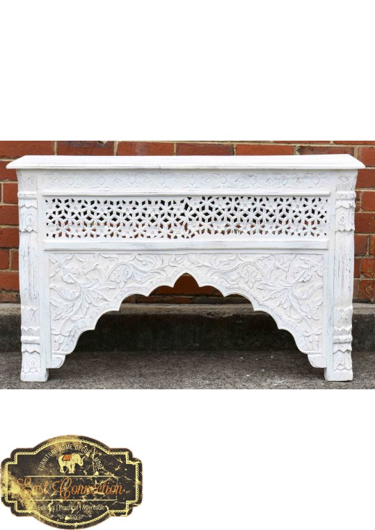 2017 Hand Carved White Wash Console Tables With Whitewashed Indian Carved Console/hall Table (Image 1 of 25)
