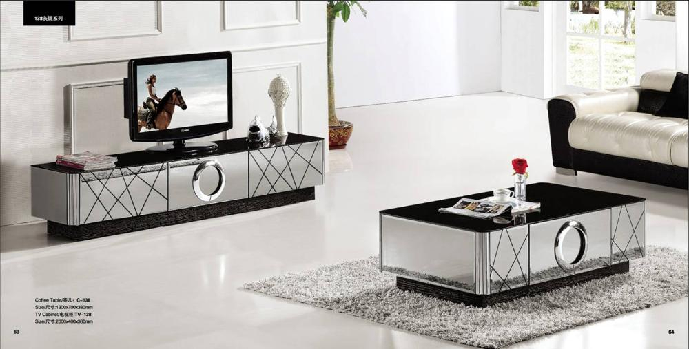 2017 Mirrored Furniture Tv Unit Throughout Modern Gray Mirror Modern Furniture, Coffee Table And Tv Cabinet Set (View 4 of 25)