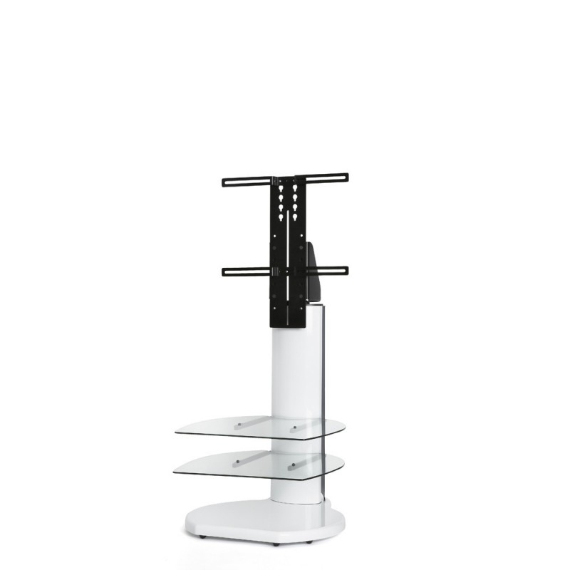 """2017 White Cantilever Tv Stand With Origin Cantilever Up To 55"""" Tv Stand With Round Base In White (Image 1 of 25)"""