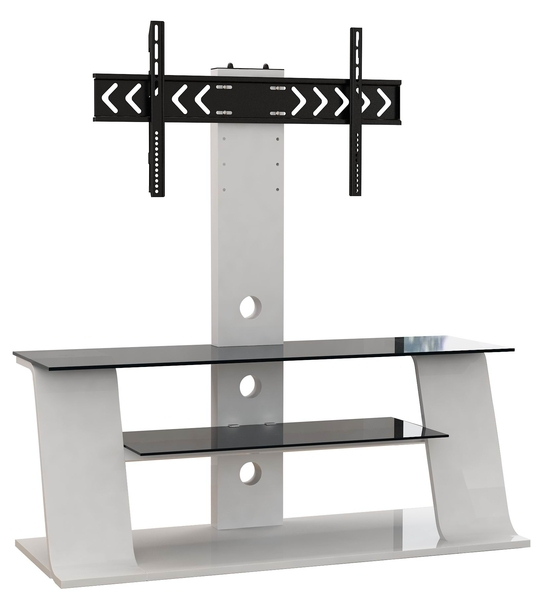 2017 White Cantilever Tv Stand With Regard To White Wooden Tv Stand With Black Glass – Ikea Style (Image 2 of 25)