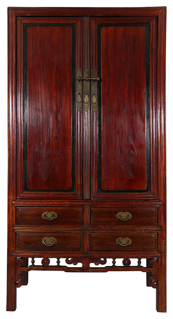 2017 Wood Tv Armoire Within Consigned Antique Chinese Carved Beech Wood Tv Armoire – Asian (Image 2 of 25)