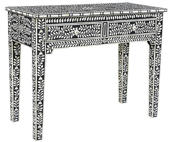"2018 Black And White Inlay Console Tables Pertaining To 41"" Brunilde Console Side Table Solid Wood Black White Bone Inlay  (Image 3 of 25)"