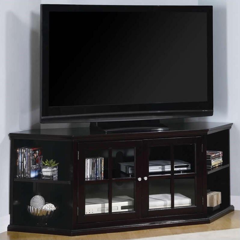 2018 Corner Tv Cabinets With Glass Doors Inside Coaster Fullerton Transitional Corner Media Unit With Doors –  (Image 3 of 25)