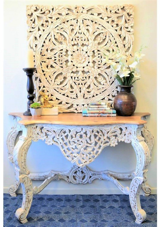 2018 Hand Carved White Wash Console Tables In Custom Furniture – Indian, Recycled Timber, Shabby Chic Furniture (Image 2 of 25)
