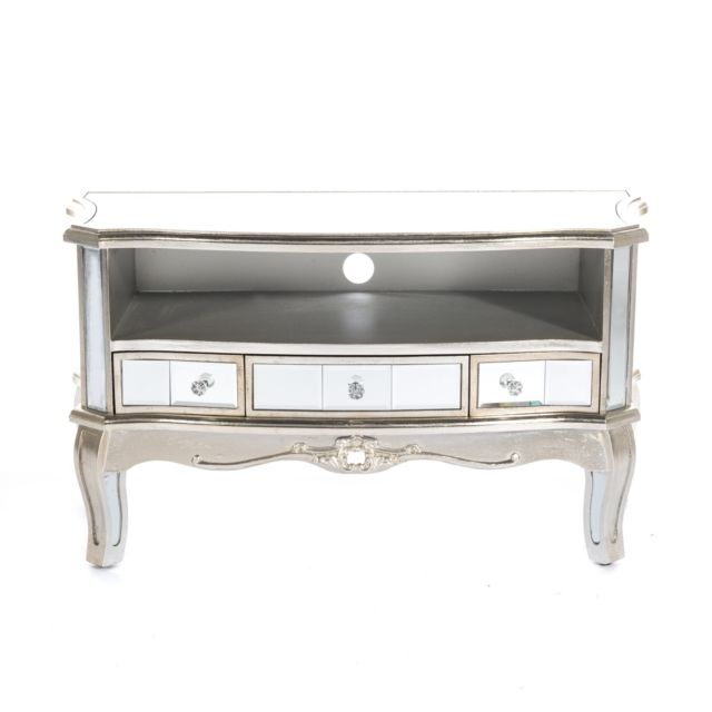 2018 Mirrored Furniture Tv Unit Inside Argente French Mirrored Furniture Silver Gilt Leaf Media Tv Unit (Image 3 of 25)