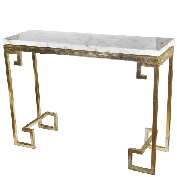 2018 Parsons White Marble Top & Stainless Steel Base 48X16 Console Tables Intended For Marble Top Console Table – Betinfon (Image 1 of 25)