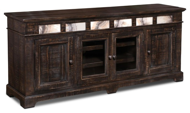 "2018 Sideboard Tv Stands throughout Onyx Solid Wood 75"" Tv Stand/sideboard - Rustic - Entertainment"