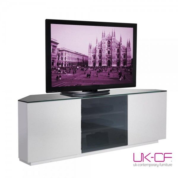 2018 Tv Bench White Gloss Inside Uk Cf Milan Cabinet White Gloss And Black Glass Corner Av Stand 150Cm (Image 2 of 25)