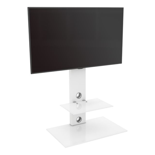 2018 Upright Tv Stands With King Upright Cantilever Tv Stand With Bracket Satin White Shelves (Photo 7358 of 7746)