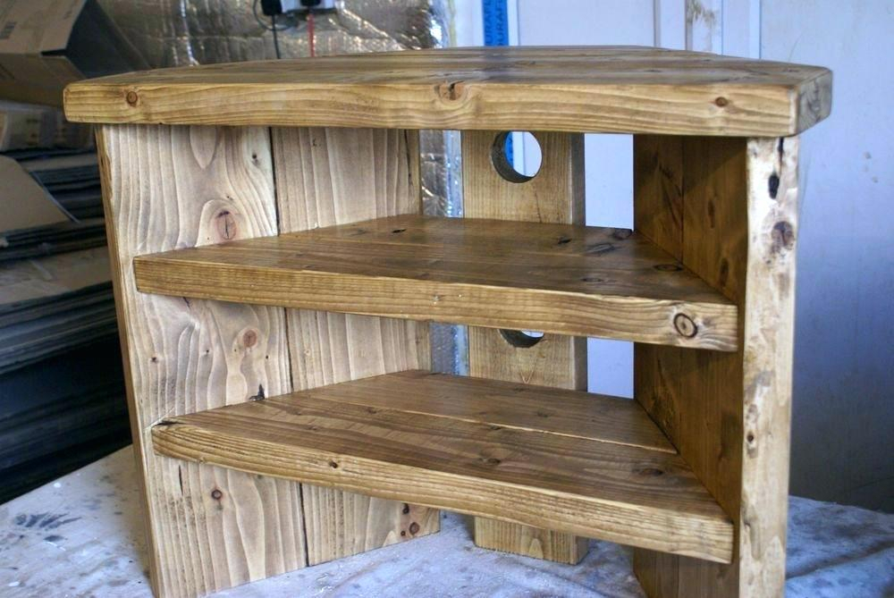 2018 Wooden Corner Tv Stands Throughout Tv Stand Real Wood Rustic Corner Stand Rustic Corner Stand Solid (Image 2 of 25)