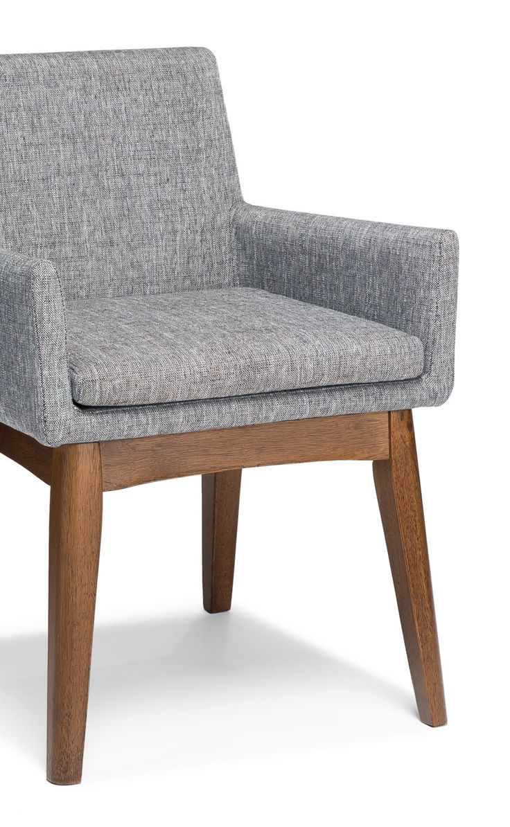 2X Gray Dining Armchair In Brown Wood Upholstered | Article Chanel Throughout Tate Arm Sofa Chairs (Image 1 of 25)
