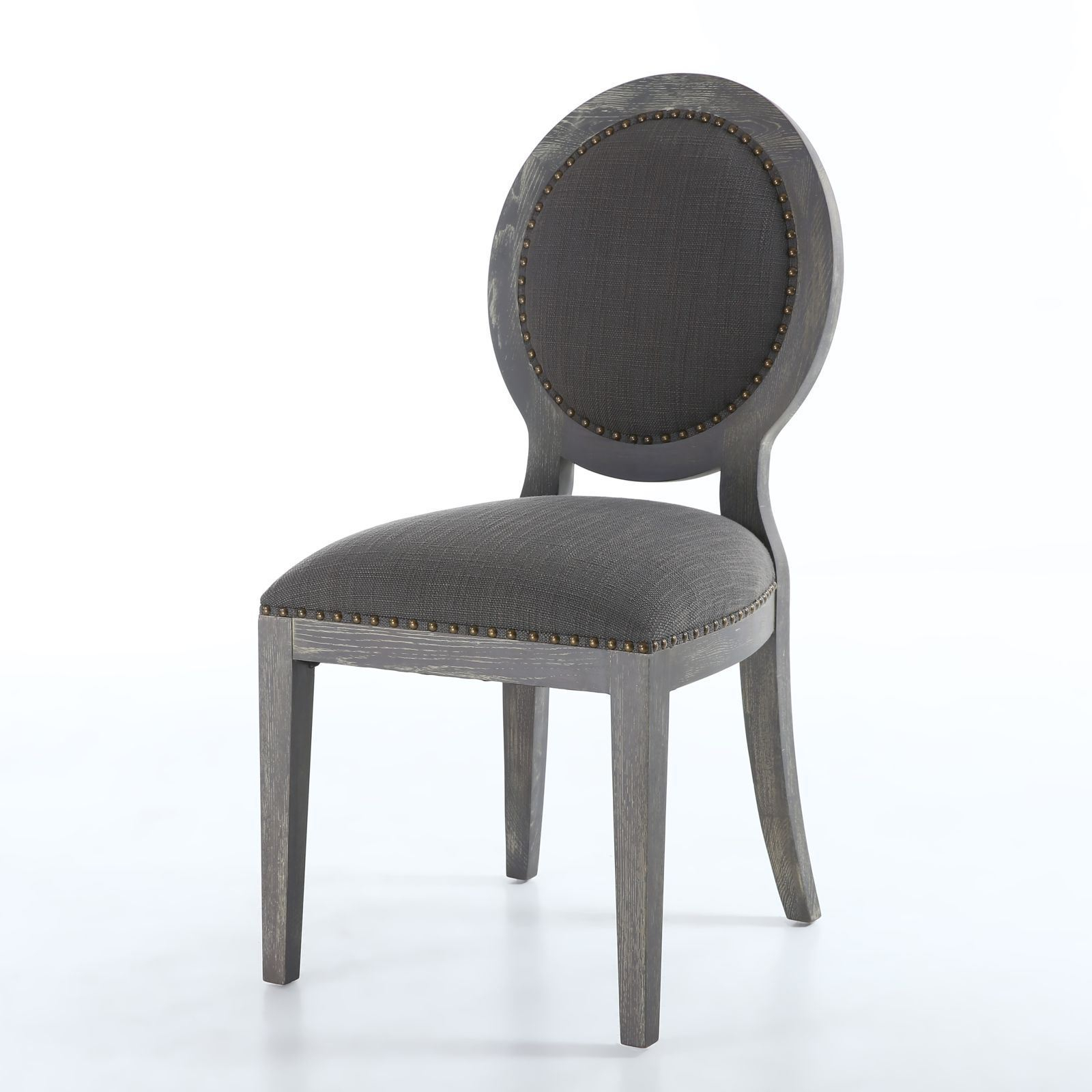 2X Manor Antique Grey Dining Chair – Pair Of Domed Seat Dining Pertaining To Manor Grey Swivel Chairs (Image 1 of 25)