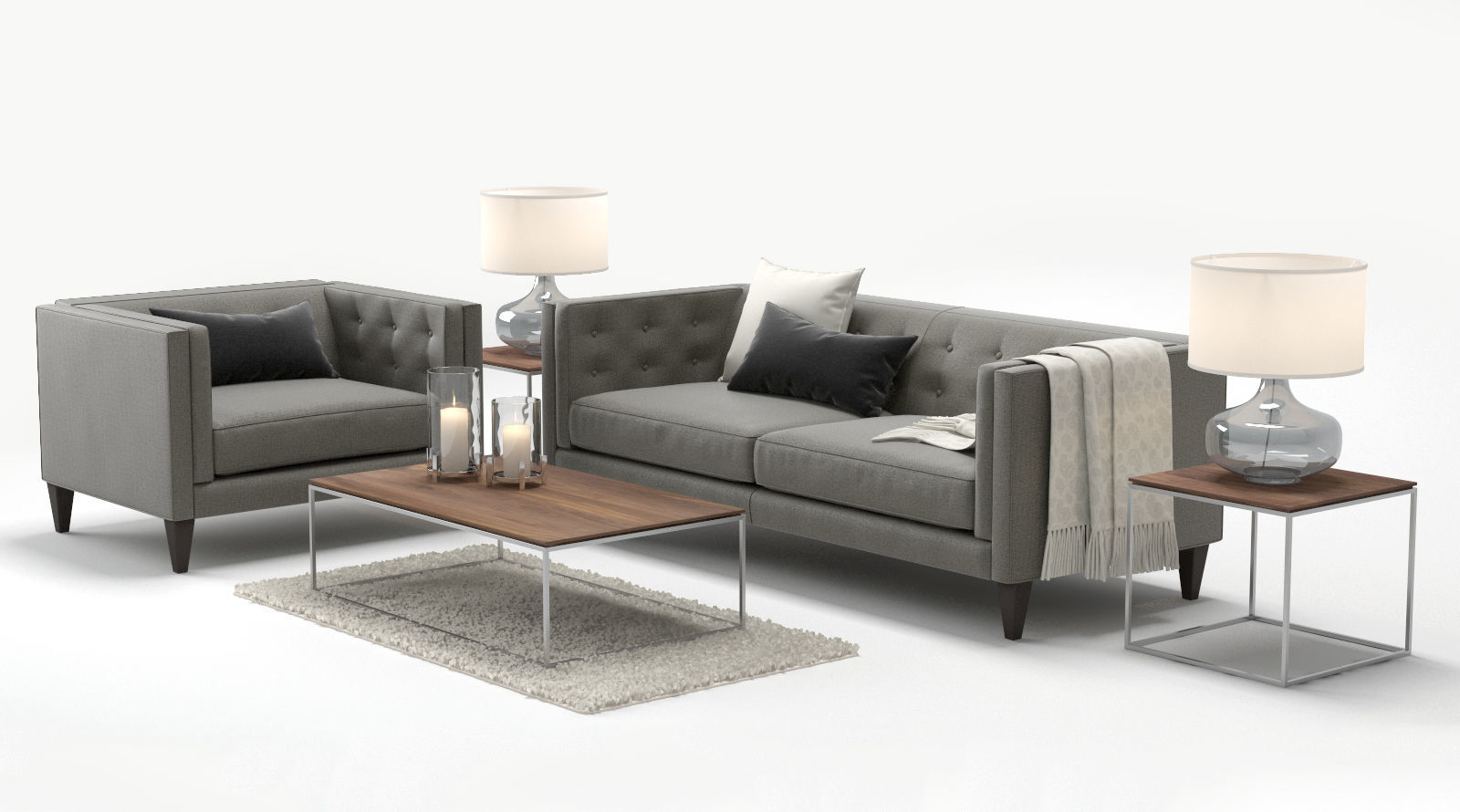 3D Crate And Barrel Aidan Sofa Chair | Cgtrader With Regard To Aidan Ii Sofa Chairs (View 4 of 25)
