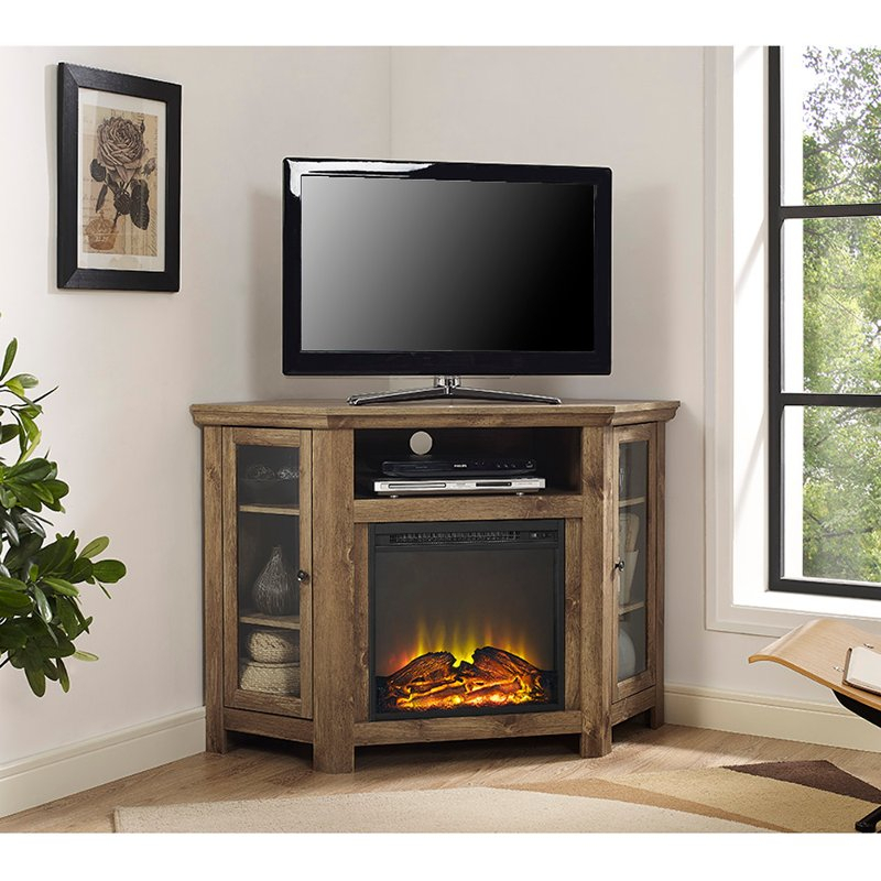 48 Inch Rustic Barn Wood Corner Tv Stand With Fireplace (Image 3 of 25)