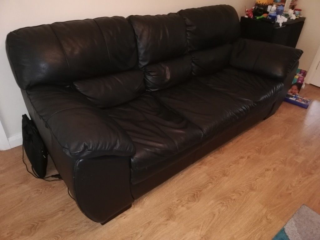 5 Year Old – Black Leather Sofa + Chair | In Newtownabbey, County Pertaining To Andrew Leather Sofa Chairs (View 14 of 25)