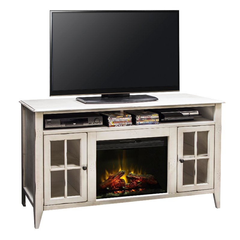 60 Inch Rustic White Fireplace And Tv Stand - Calistoga