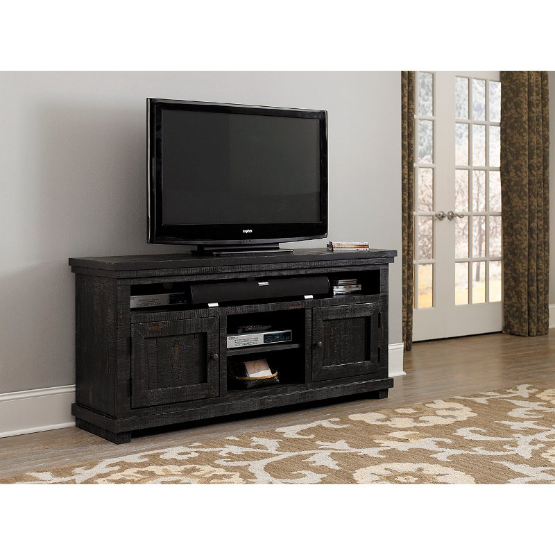 64 Inch Distressed Black Tv Stand - Willow