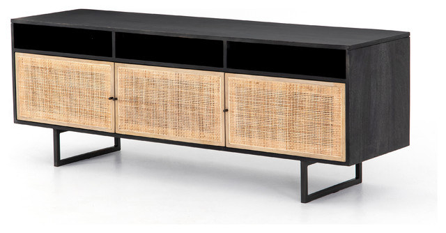 "65.00"" L Gherardo Media Console Black Wash Cane Mango Wood Iron pertaining to 2017 Natural Cane Media Console Tables"