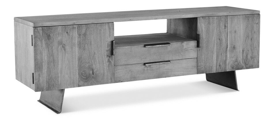 "71"" Tv Media Console Acacia Wood Steel Brass Grey Stone Oiled throughout Latest Gunmetal Media Console Tables"