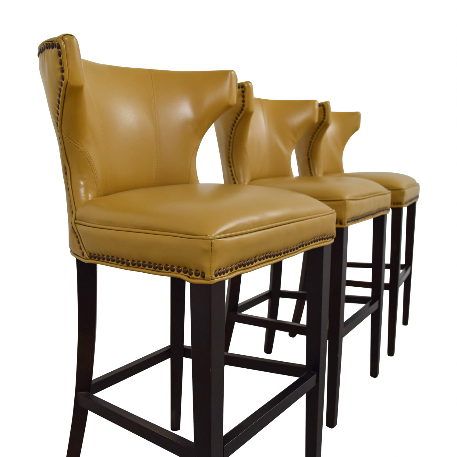 72% Off - Grandin Road Grandin Road Mustard Yellow Bar Stools / Chairs regarding Grandin Leather Sofa Chairs