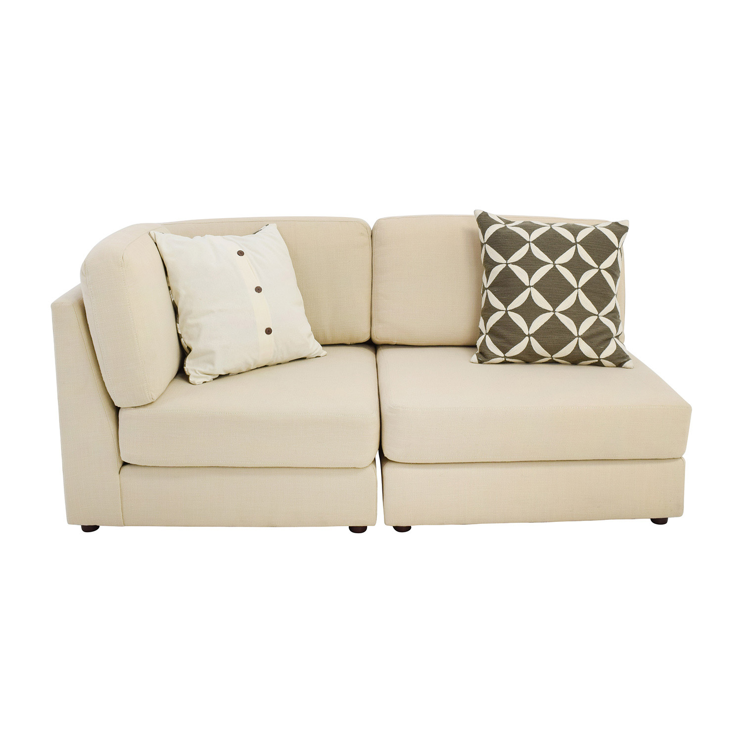 76% Off - West Elm West Elm Cream Chaise Sofa Or Two Chairs / Sofas with regard to Elm Sofa Chairs
