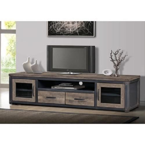 80 Inch Wood Rustic Tv Stand Storage Entertainment Center Console Pertaining To Famous Rustic Furniture Tv Stands (Image 1 of 25)