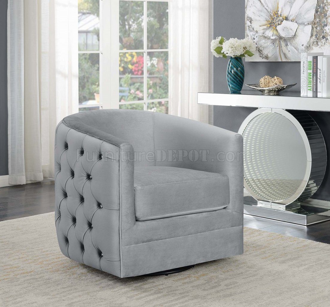 904087 Set Of 2 Swivel Accent Chairs In Grey Velvetcoaster Throughout Umber Grey Swivel Accent Chairs (Photo 12 of 25)