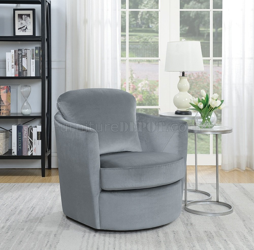 904090 Set Of 2 Swivel Accent Chairs In Grey Velvetcoaster Regarding Umber Grey Swivel Accent Chairs (View 15 of 25)