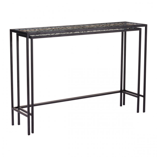 A10739 – Web Set Of 2 Console Tables Black Pertaining To 2017 Scattered Geo Console Tables (Image 8 of 25)