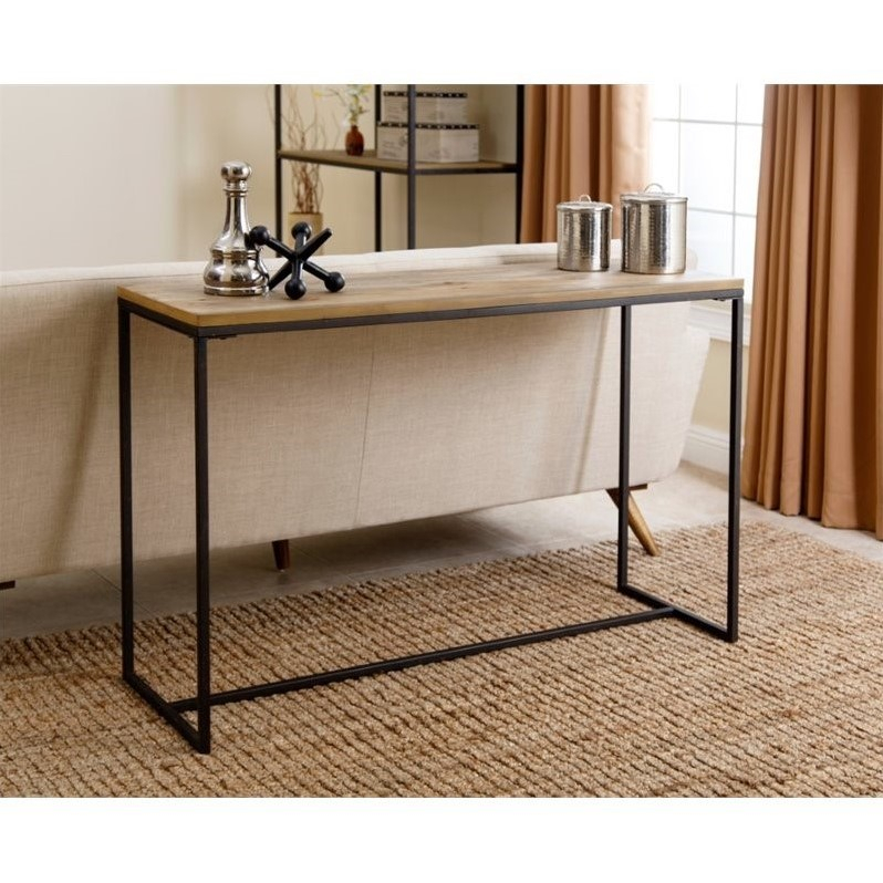 Abbyson Industrial Console Table In Natural Wood – Md Q155344 Sof Regarding Preferred Natural Wood Mirrored Media Console Tables (View 5 of 25)