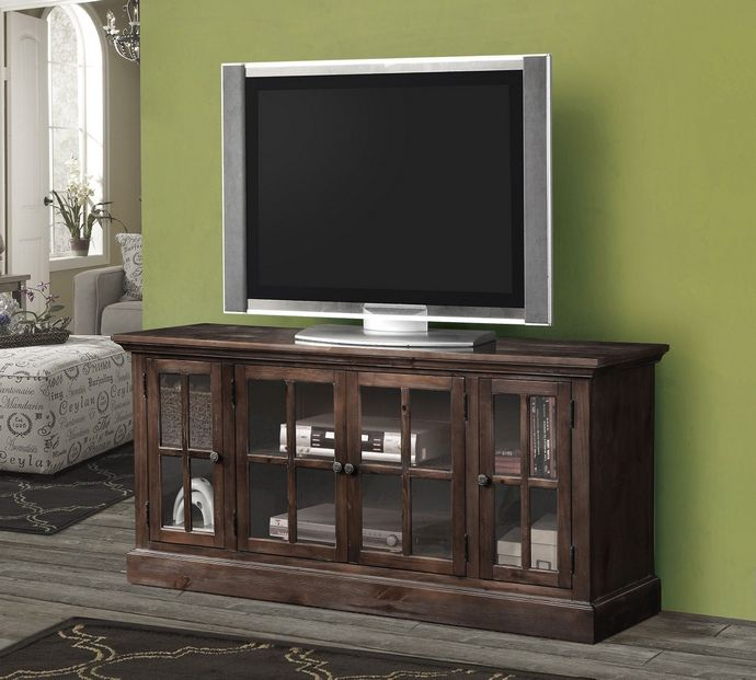 Acme 91181 Nora Collection Dark Lager Finish Wood Tv Stand With In Best And Newest Glass Front Tv Stands (Image 2 of 25)