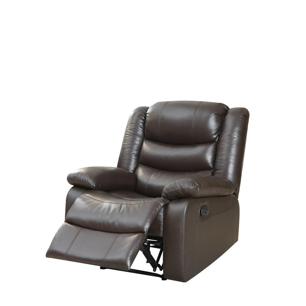 Acme Furniture Acme Fede Top Grain Leather Espresso Recliner 59472 Inside Espresso Leather Swivel Chairs (Image 2 of 25)