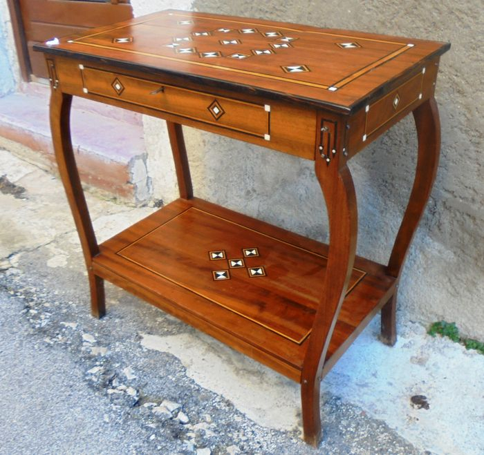 African Ebony And Ivory Inlaid Console Table On Curved Legs – Catawiki Intended For Famous Orange Inlay Console Tables (Image 4 of 25)
