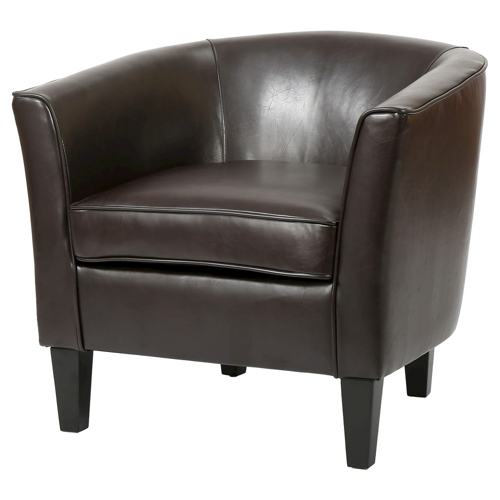 Aiden Bonded Leather Club Chair – Christopher Knight Home, Brown With Aidan Ii Swivel Accent Chairs (View 8 of 25)