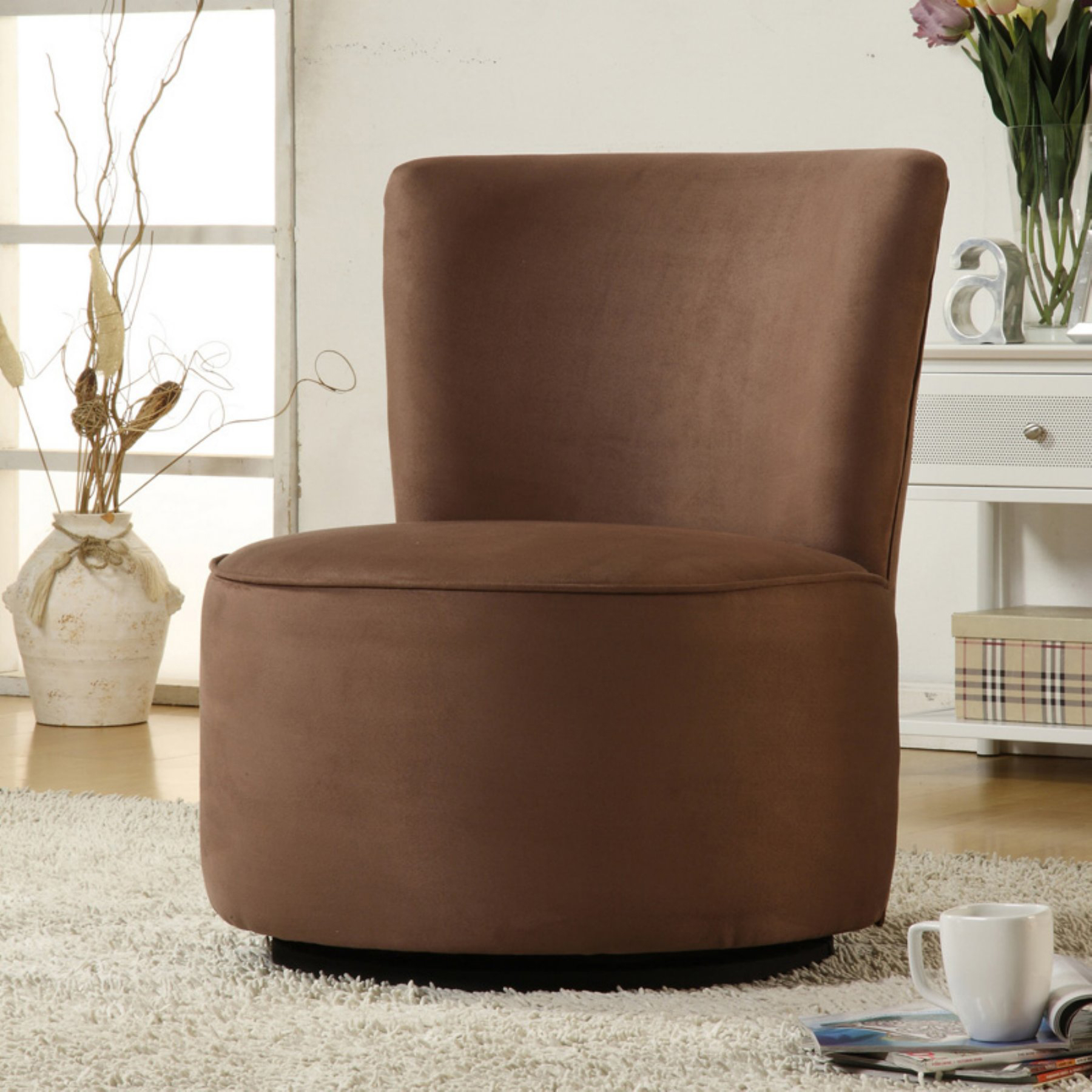Aiden Round Fabric Swivel Chair Brown – Walmart Pertaining To Aidan Ii Swivel Accent Chairs (View 13 of 25)