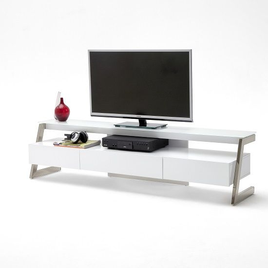 Albans Glass Lcd Tv Stand In White With High Gloss And 3 Drawers Within Preferred Very Cheap Tv Units (Image 1 of 25)