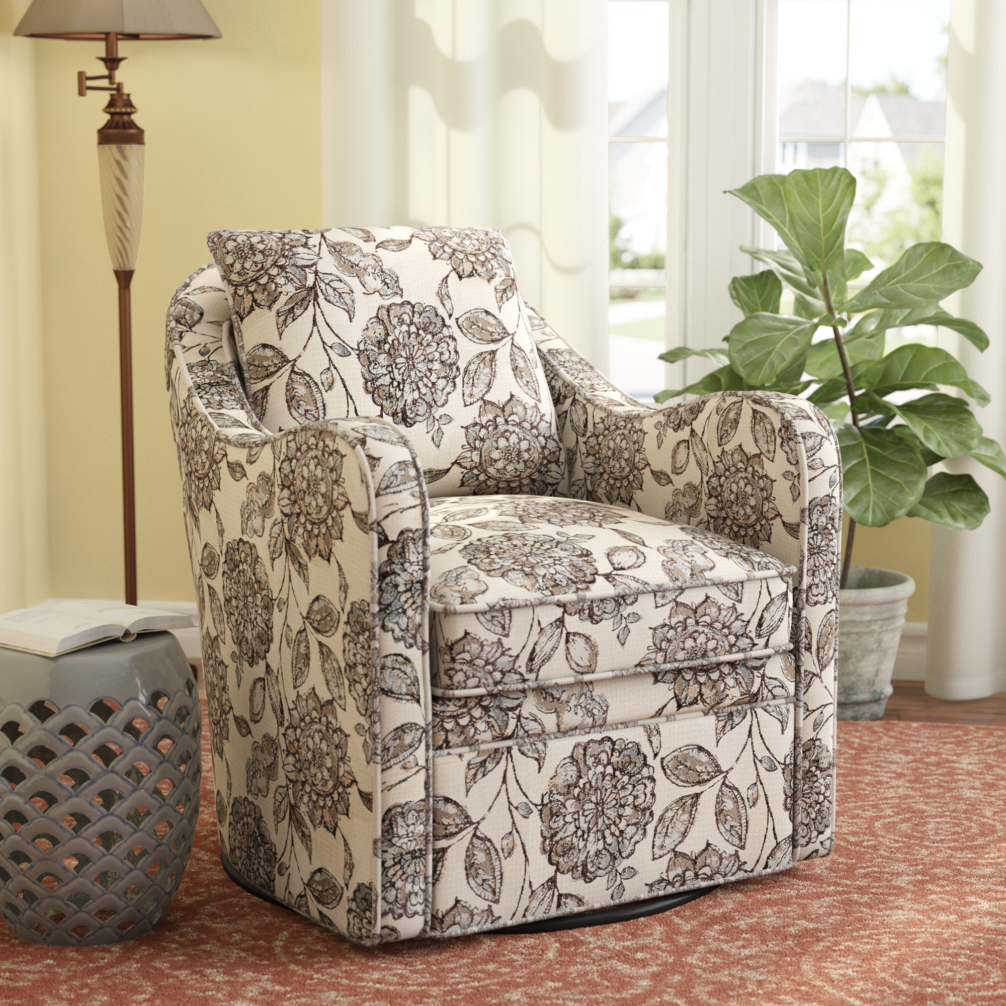 Alcott Hill Brick And Barrel Swivel Armchair & Reviews | Wayfair With Regard To Revolve Swivel Accent Chairs (Image 1 of 23)