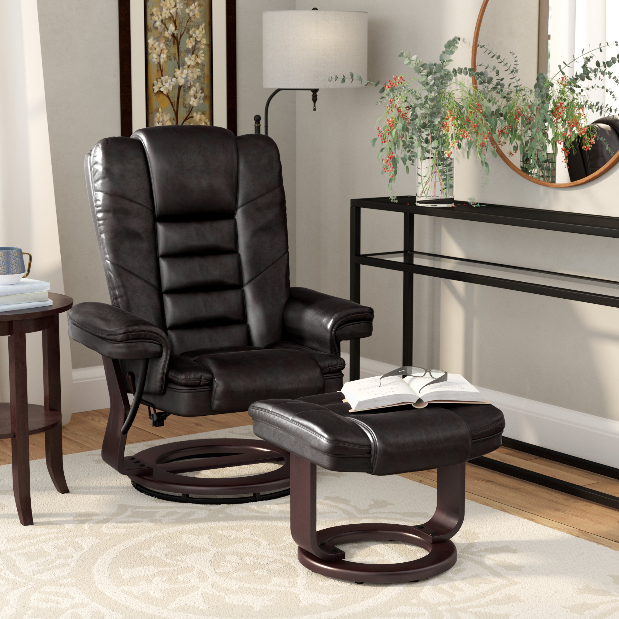 Alcott Hill Hammersdale Manual Swivel Recliner With Ottoman With Regard To Dale Iii Polyurethane Swivel Glider Recliners (Image 1 of 25)