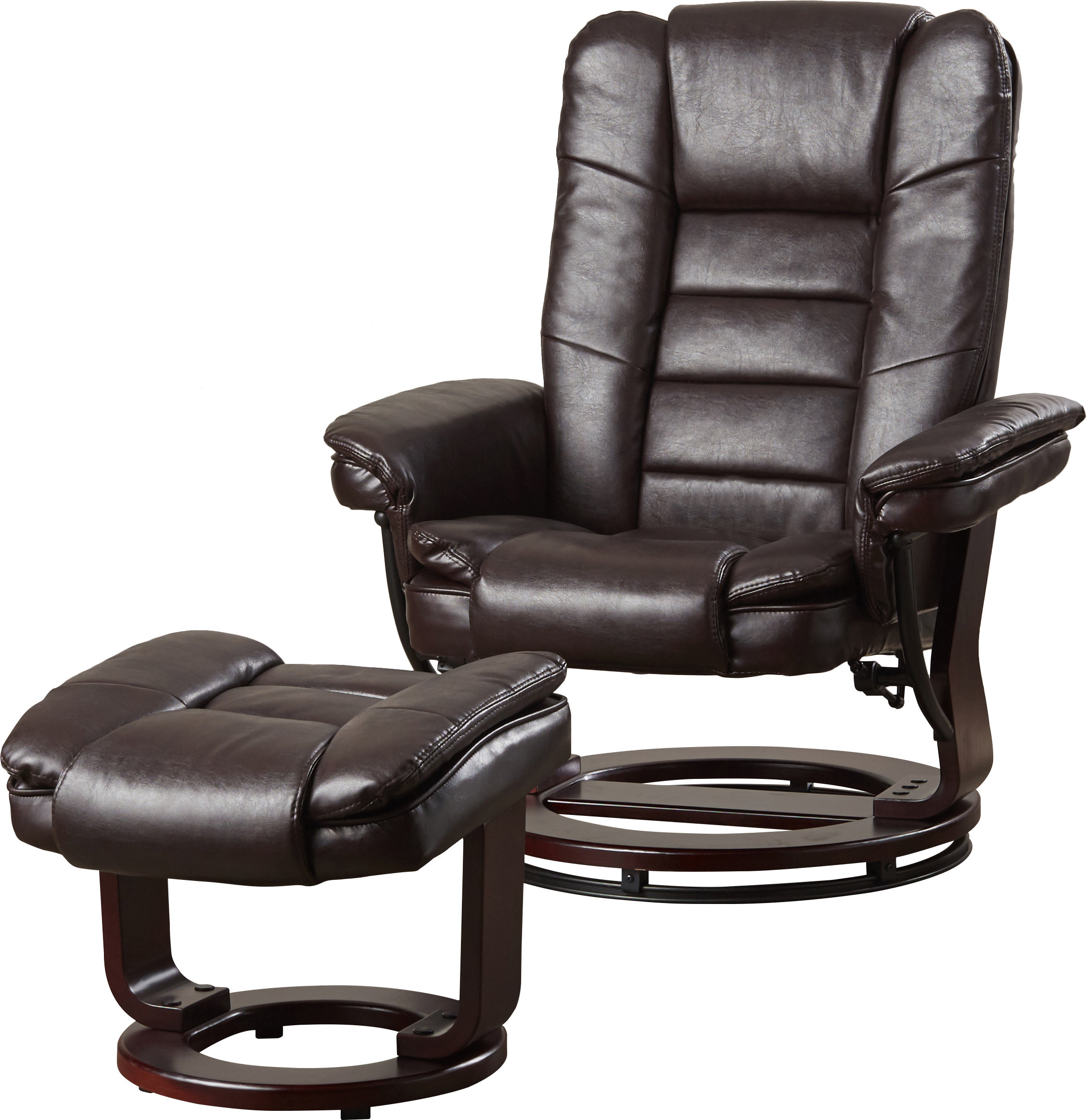 Alcott Hill Hammersdale Manual Swivel Recliner With Ottoman Within Dale Iii Polyurethane Swivel Glider Recliners (Image 2 of 25)