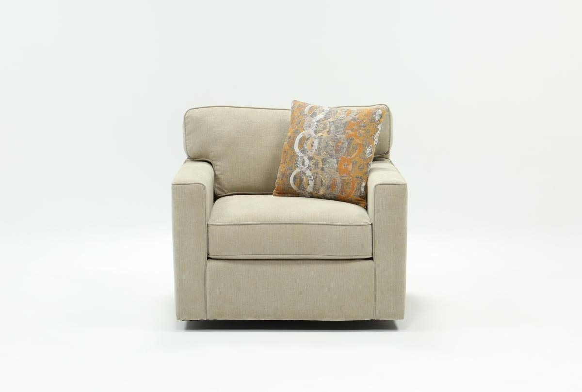 Alder Grande Ii Swivel Chair | Living Spaces Intended For Chill Swivel Chairs With Metal Base (Image 3 of 25)