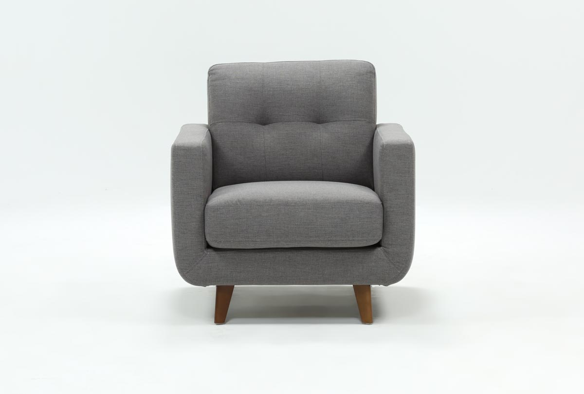 Allie Dark Grey Chair | Living Spaces Pertaining To Caressa Leather Dark Grey Sofa Chairs (Image 1 of 25)