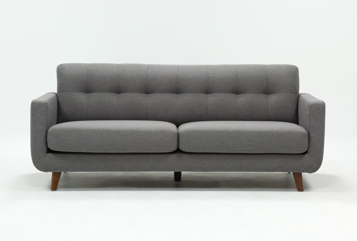 Allie Dark Grey Sofa | Living Spaces With Regard To Caressa Leather Dark Grey Sofa Chairs (Image 2 of 25)