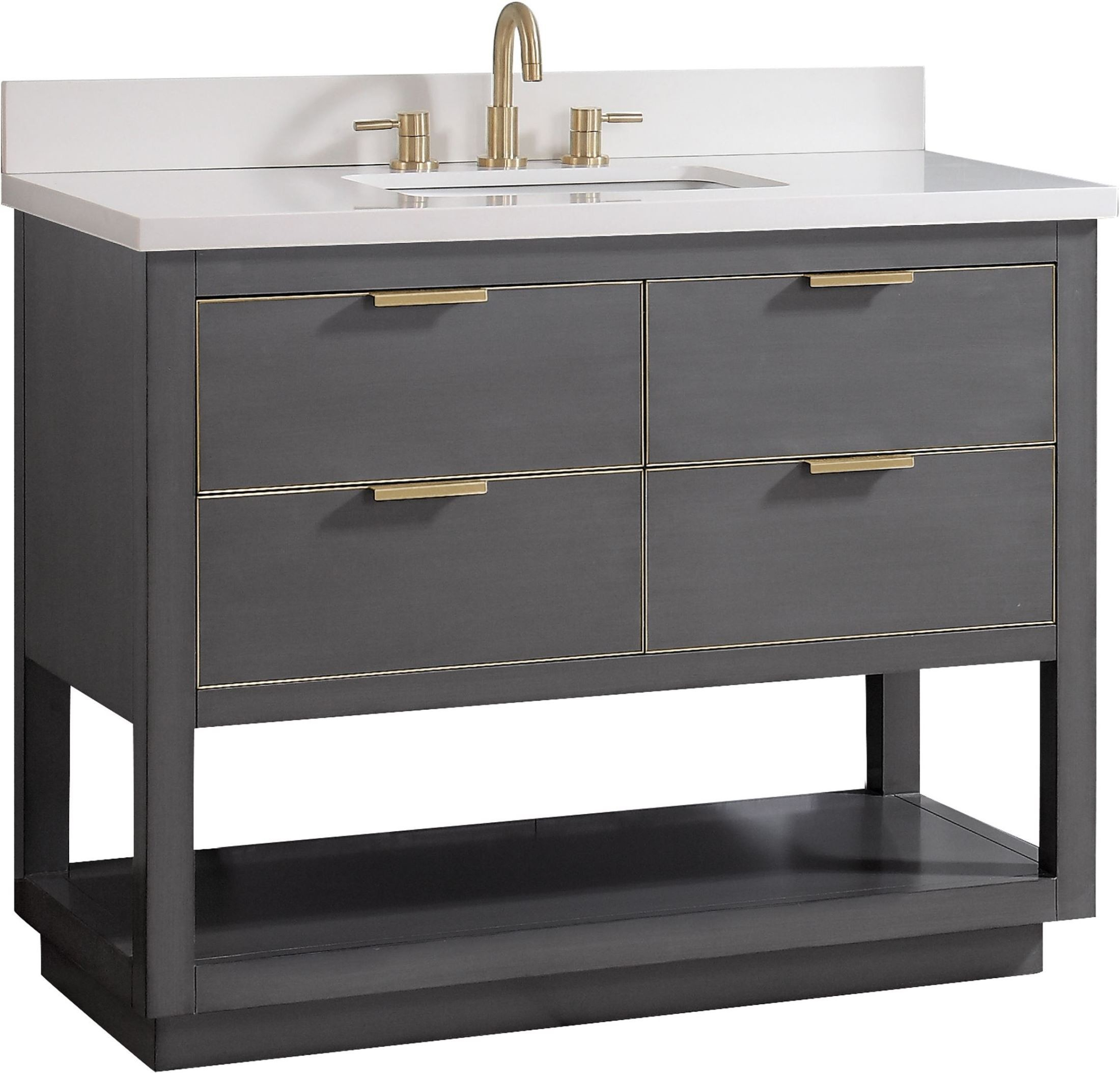 """Allie Twilight Gray And Gold Trim 43"""" Vanity With White Quartz Top In Allie Dark Grey Sofa Chairs (View 22 of 25)"""