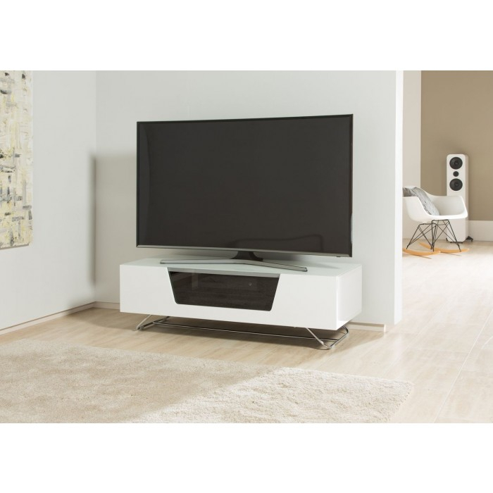 Alphason Chromium 2 Tv Stand Cro2 1200Cb Wht White Gloss Tv Cabinet Throughout Newest Alphason Tv Cabinet (Image 2 of 25)