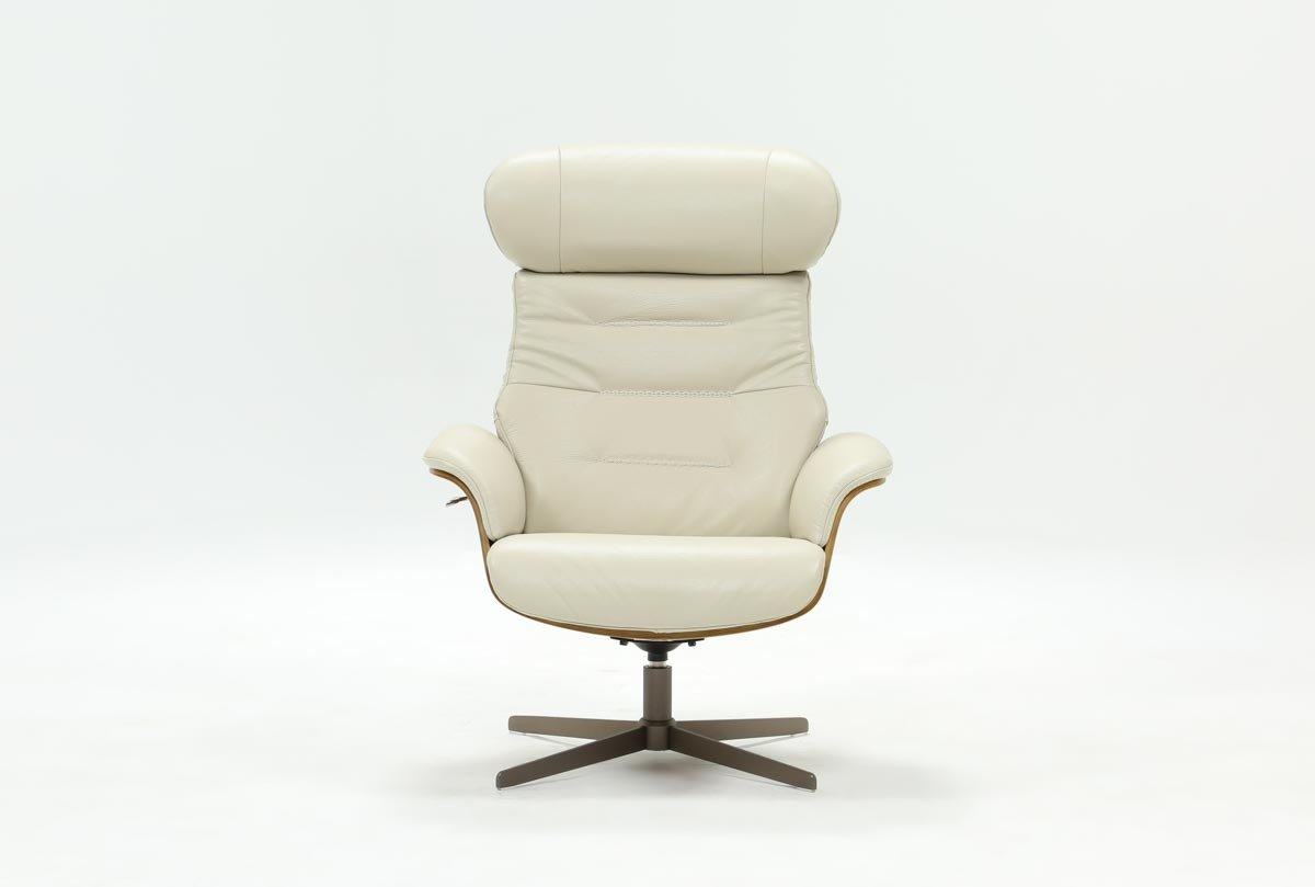Amala Bone Leather Reclining Swivel Chair | Living Spaces With Regard To Amala Dark Grey Leather Reclining Swivel Chairs (Image 1 of 25)