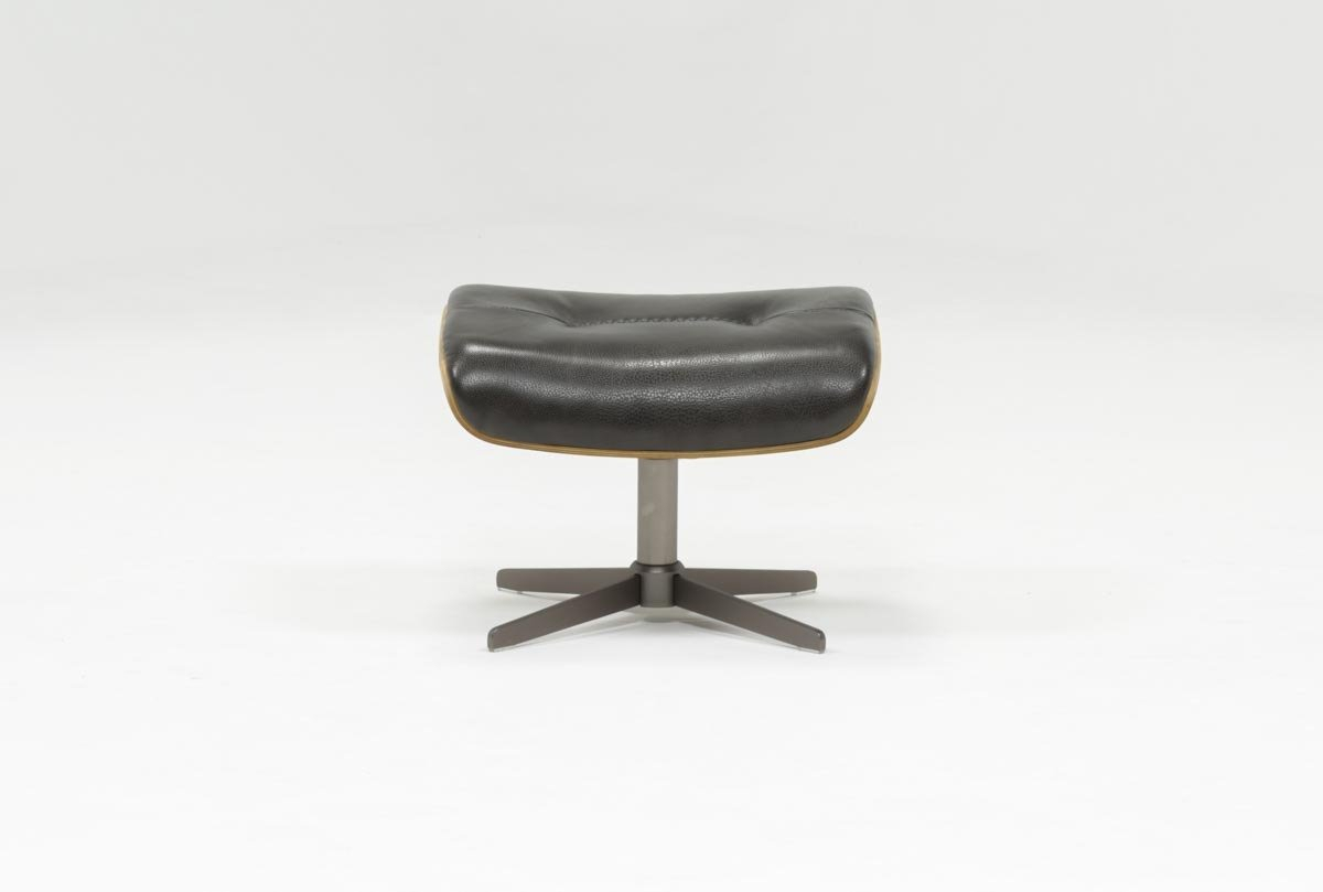 Amala Dark Grey Leather Ottoman | Living Spaces Pertaining To Amala Bone Leather Reclining Swivel Chairs (View 10 of 25)